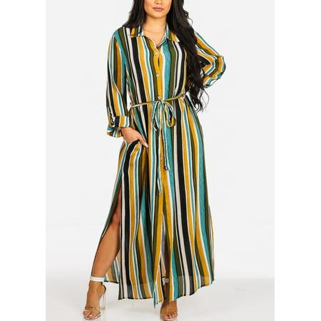 Womens Summer Weight (Womens Juniors Fashion Beach Wear Summer Lightweight Green Stripe Print Roll-Up Long Sleeve Below Knee Belted Maxi Shirtdress Dress 40864V)