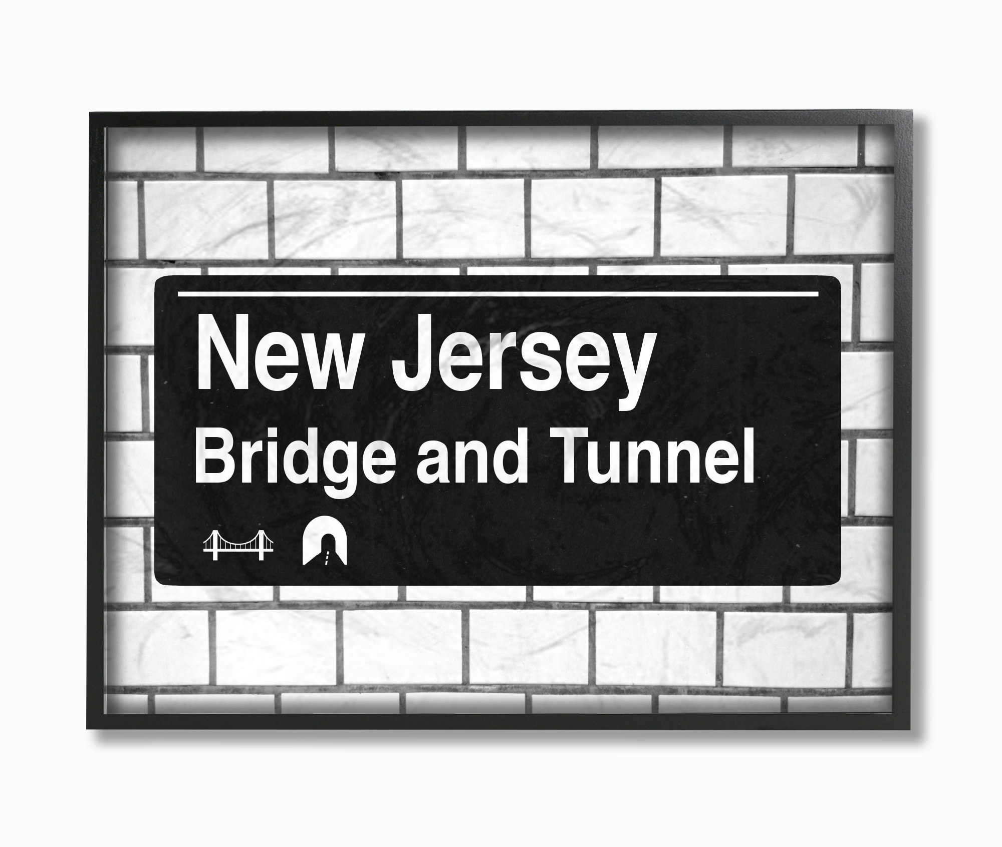The Stupell Home Decor Collection New Jersey Bridge and Tunnel Sign Framed Giclee... by Stupell Industries