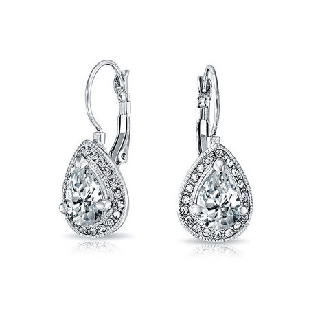 2.25CT Bridal Prom Cubic Zirconia Crystal Halo Teardrop Solitaire CZ Leverback Earrings For Women Silver Plated Alloy