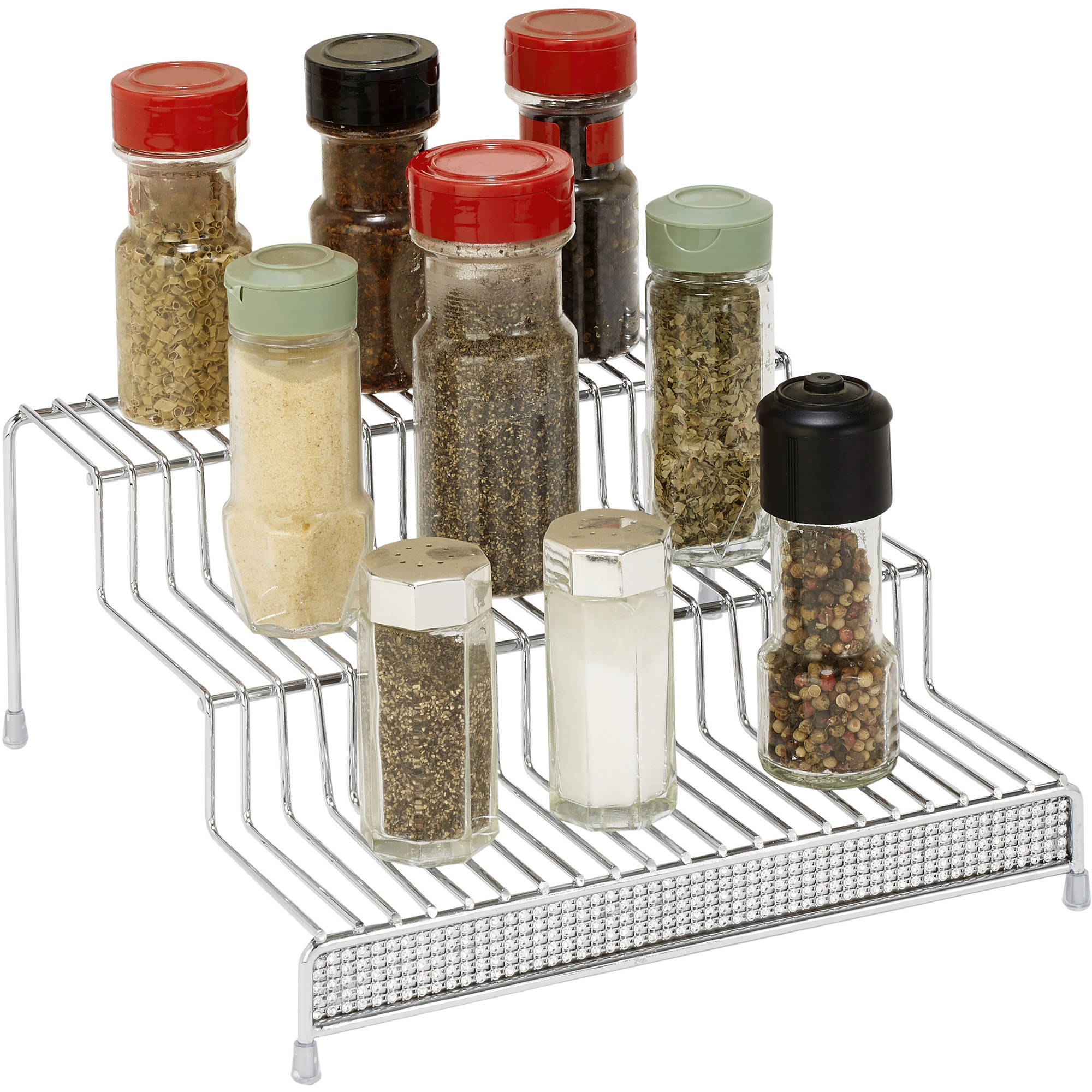 Simplify 3-Tier Spice Organizer, Chrome Pave Diamond Design