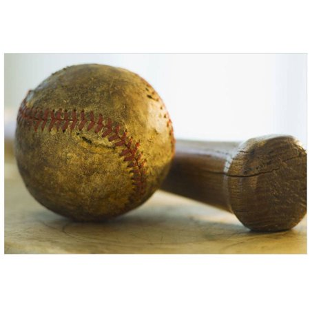 Antique Baseball With Baseball Bat by Eazl Premium Gallery Wrap Sports Gear