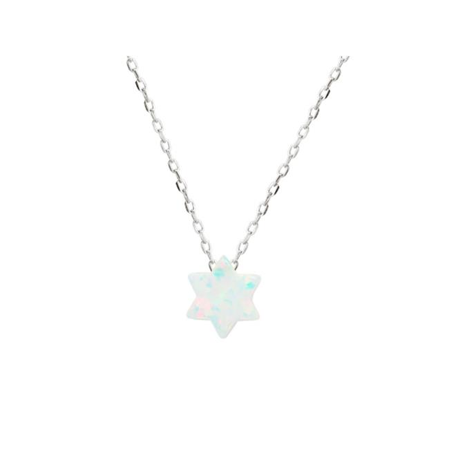925 Rhodium Plated Silver Mini Opal Stone Star of David Necklace, 15 in. Plus 2 in. Extension - image 1 of 1