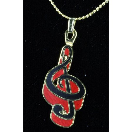 Harmony Rod - Harmony Jewelry G Clef Necklace in Gold and Red