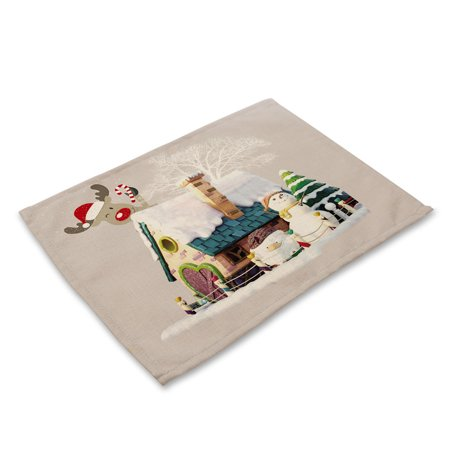 Christmas Table Decoration (Bowl Fork Placemat Mat Decoration Home Party Christmas Dining)