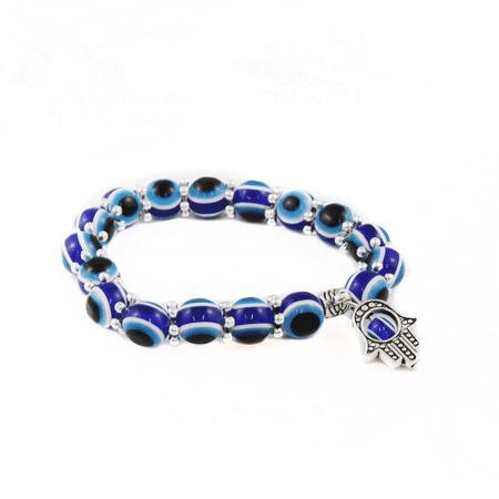 Hamsa Evil Eye Lava Chakra Stretch Bracelet - Charm- 7 Color Chakra Stones (Cause Bracelets)
