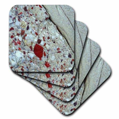 Pudding Rock (3dRose Pudding stone, jasper quartz, rock mineral - US23 BJA0030 - Jaynes Gallery, Soft Coasters, set of)