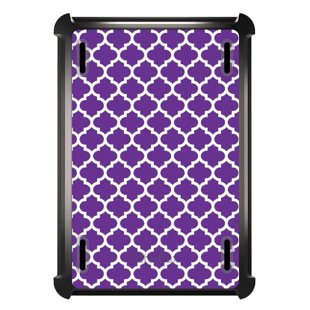 CUSTOM Black OtterBox Defender Series Case for Apple iPad Mini 4 - Purple White Moroccan Lattice