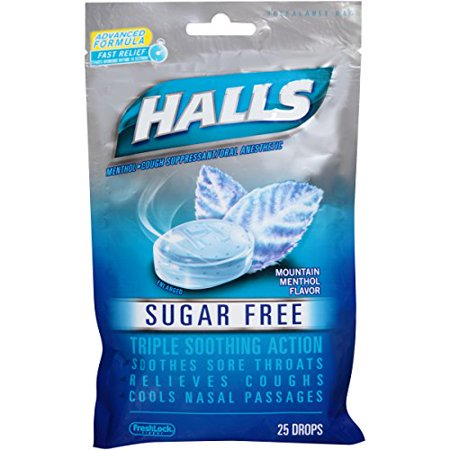 5 Pack Halls Sugar Free Triple Soothing Action Mountain Menthol 25 Drops Each
