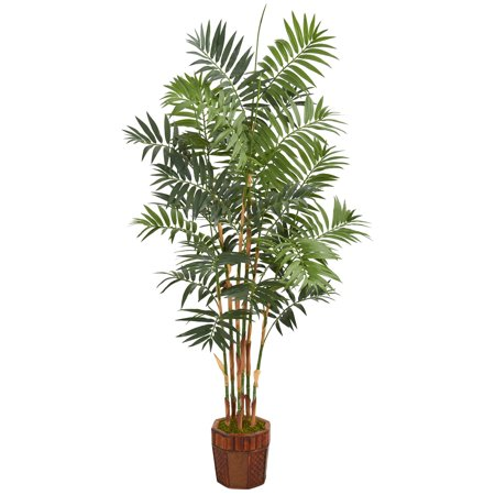 Nearly Natural 5.5' Bamboo Artificial Palm Tree in Decorative Wood Planter](Decorative Palm Trees)