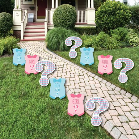 Chevron Gender Reveal - Baby Bodysuit and Question Mark Lawn Decorations - Outdoor Party Yard Decorations - 10 - Baby Reveal Party Decorations