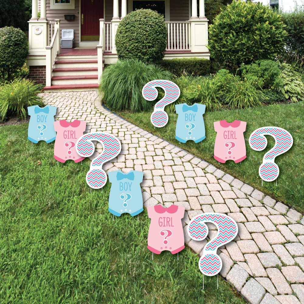Chevron Gender Reveal - Baby Bodysuit and Question Mark Lawn Decorations - Outdoor Party Yard Decorations - 10 Piece