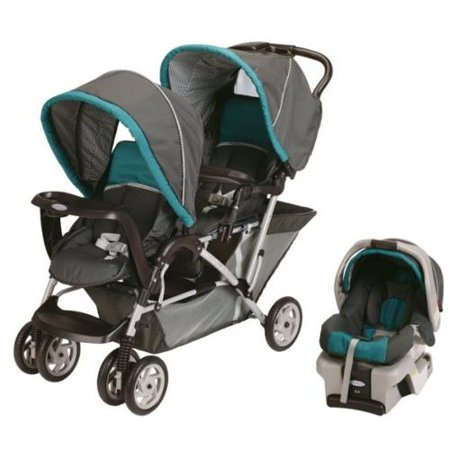 Graco DuoGlider Folding Double Baby Stroller w/ Car Seat Travel ...