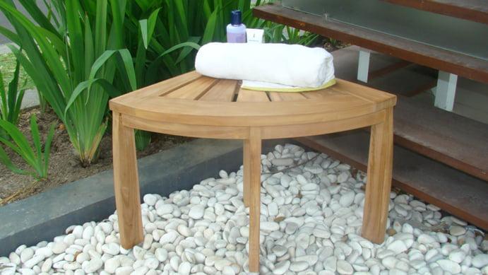 WholesaleTeak Outdoor Patio Grade-A All Teak Wood Corner Seat Shower Bench   Stool #WMAXCSAT by WholesaleTeak