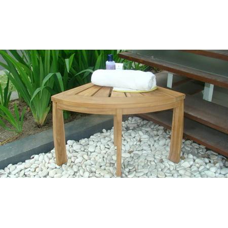WholesaleTeak Outdoor Patio Grade-A All Teak Wood Corner Seat Shower Bench / Stool #WMAXCSAT