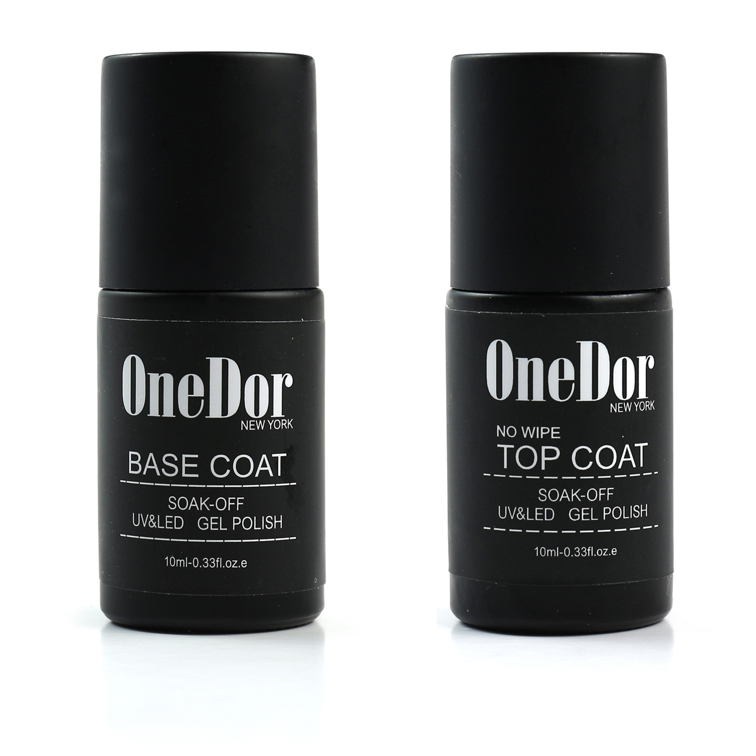 OneDor Gel Polish UV Led Cured Required Soak Off Nail Polish Top & Base Coat Set (No Wipe Top Coat & Base Coat)