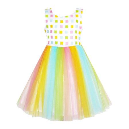 Girls Dress Tulle Rainbow Party Wedding Pageant Birthday Sundress 2](Rainbow Dash Wedding Dress)