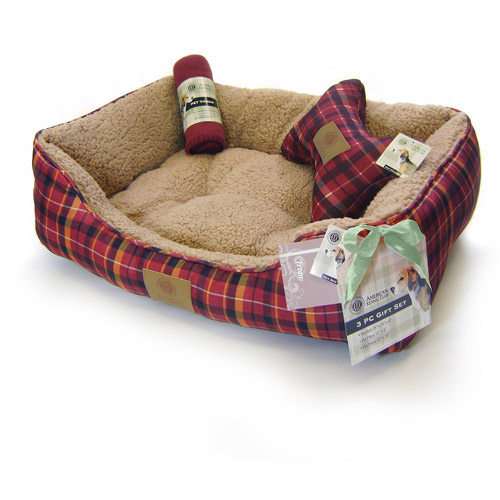 "AKC Holiday Dog Bed Gift Set with Pillow and Throw, 28""W x 20""D x 8""H"