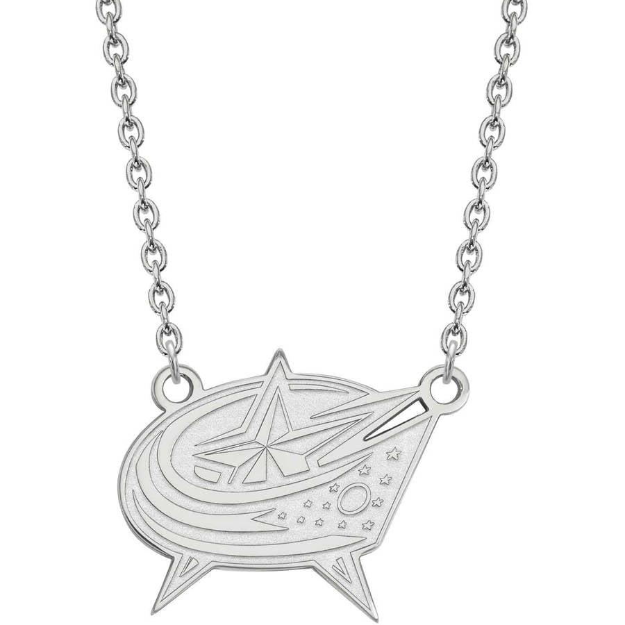 LogoArt NHL Columbus Blue Jackets 10kt White Gold Large Pendant with Necklace