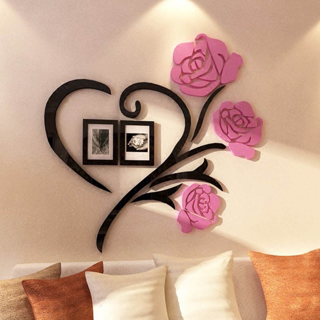 Family Love Rose Wall Decals 3D DIY Photo Frame Wall Sticker Mural Home Decor