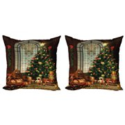 Christmas Throw Pillow Cushion Cover Pack of 2, Vintage Ambiance Big Old Fashioned Window Xmas Tree Various Presents, Zippered Double-Side Digital Print, 4 Sizes, Brown Red Green, by Ambesonne