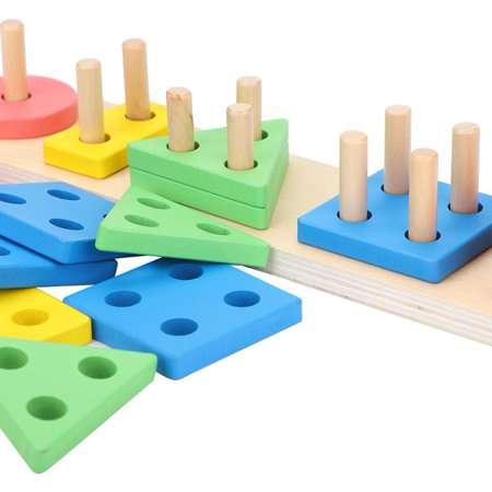 Domqga Wooden Toy, Baby Wooden Block, Colorful Geometric Board Kids Children Wooden Block Preschool Educational Toy Gift - image 2 of 8