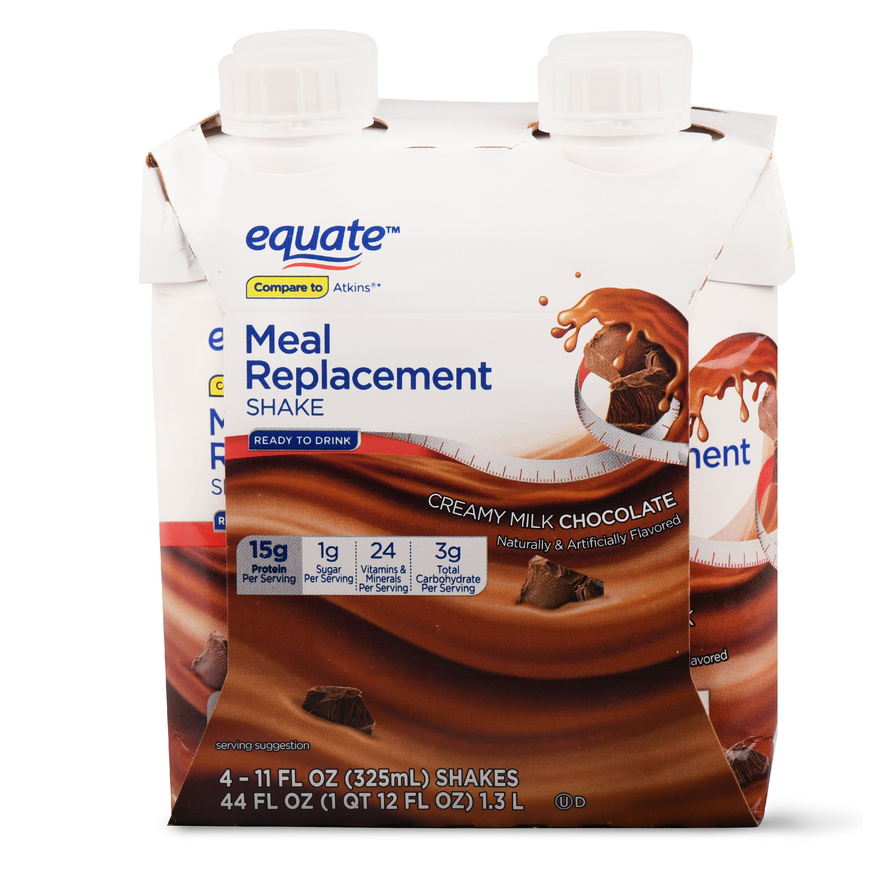 Equate Meal Replacement Shake, Milk Chocolate, 44 Oz, 4 Ct