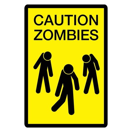 Caution Zombies Sign Art Poster Print Poster - 13x19](Caution Zombies)