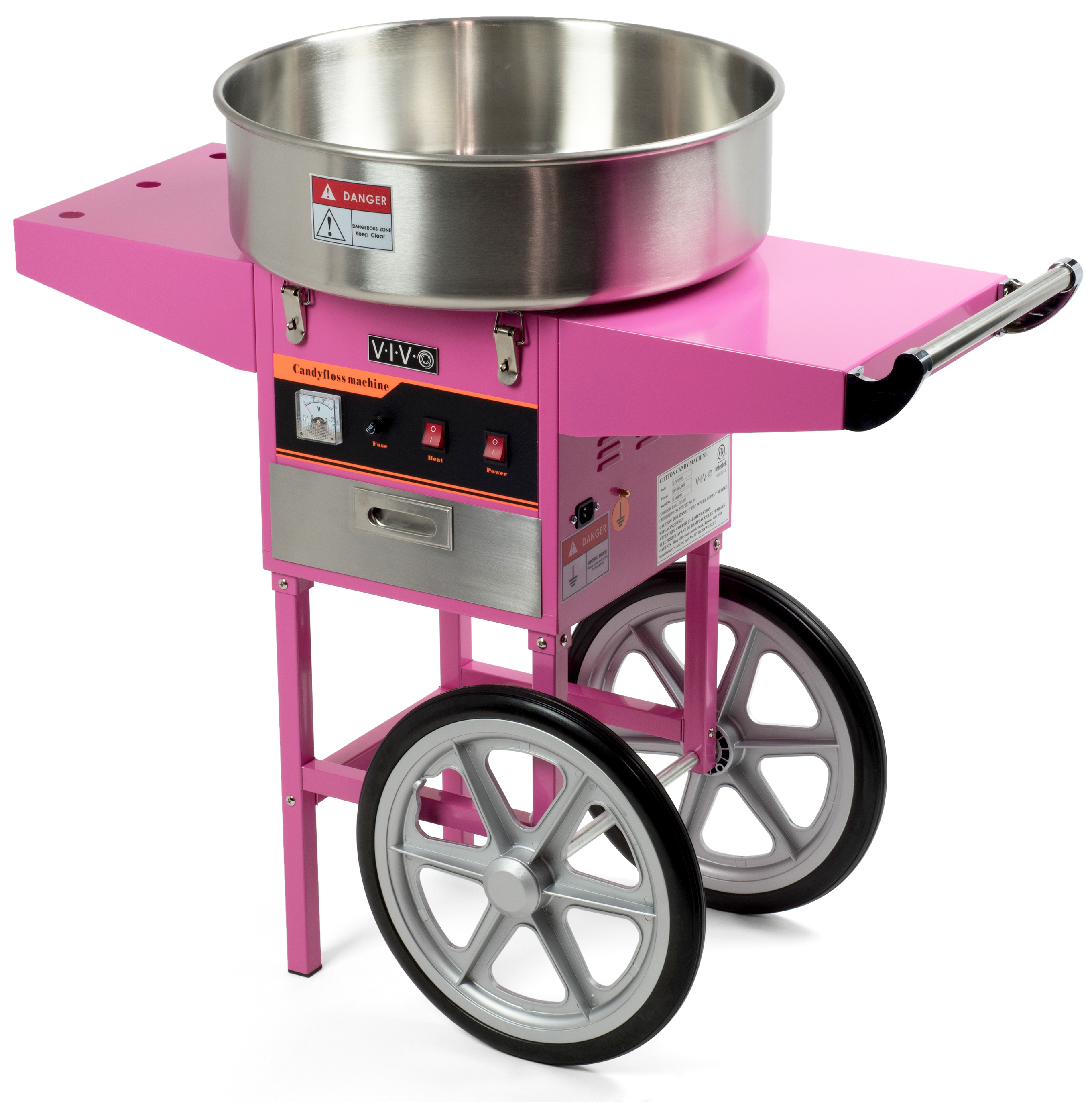 Electric Commercial Cotton Candy Machine / Floss Maker Pink Cart Stand VIVO