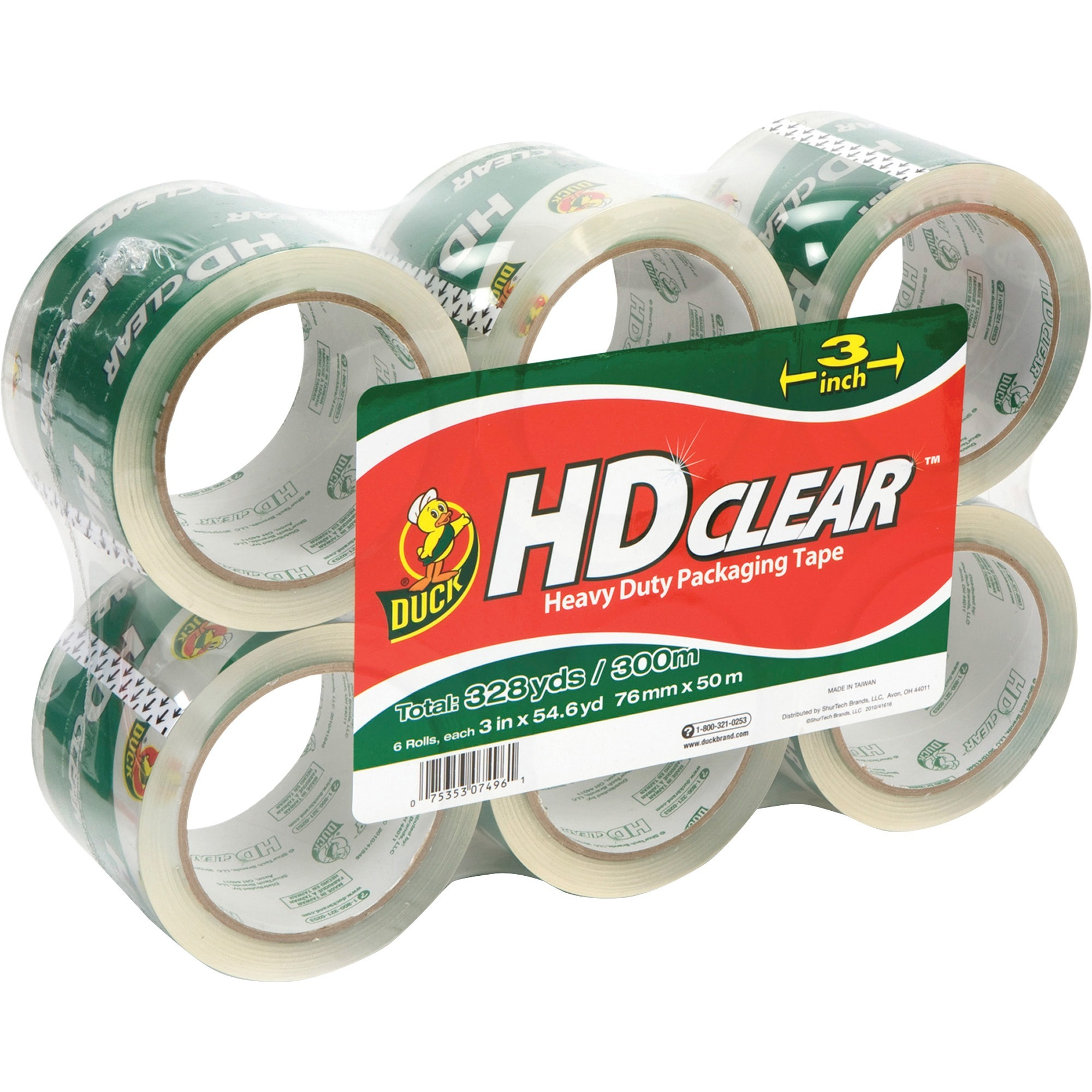 Duck HD Clear Packing Tape, 3 in. x 54.6 yd., Clear, 6-Count