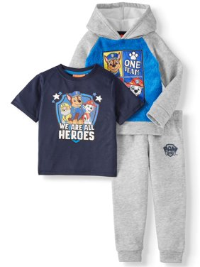 Paw Patrol Short Sleeve Graphic T-shirt, Colorblock Pullover Hoodie & Jogger, 3pc Outfit Set (Toddler Boys)