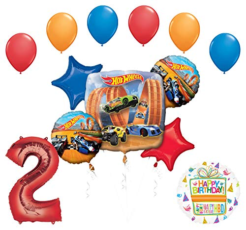 Mayflower Products Hot Wheels Party Supplies 2nd Birthday Balloon Bouquet Decorations - Hot Wheel Birthday Party