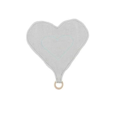Hearts Organic Cotton (Under The Nile Baby Organic Cotton Heart Lovey with Teething Ring Toy Grey Stripe)