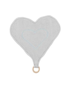 Under The Nile Baby Organic Cotton Heart Lovey with Teething Ring Toy Grey Stripe 13""