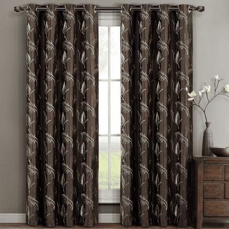 Pair (Set of 2) Olivia Embroidered Lined Grommet Top Curtain Panels - (Olivia Set)