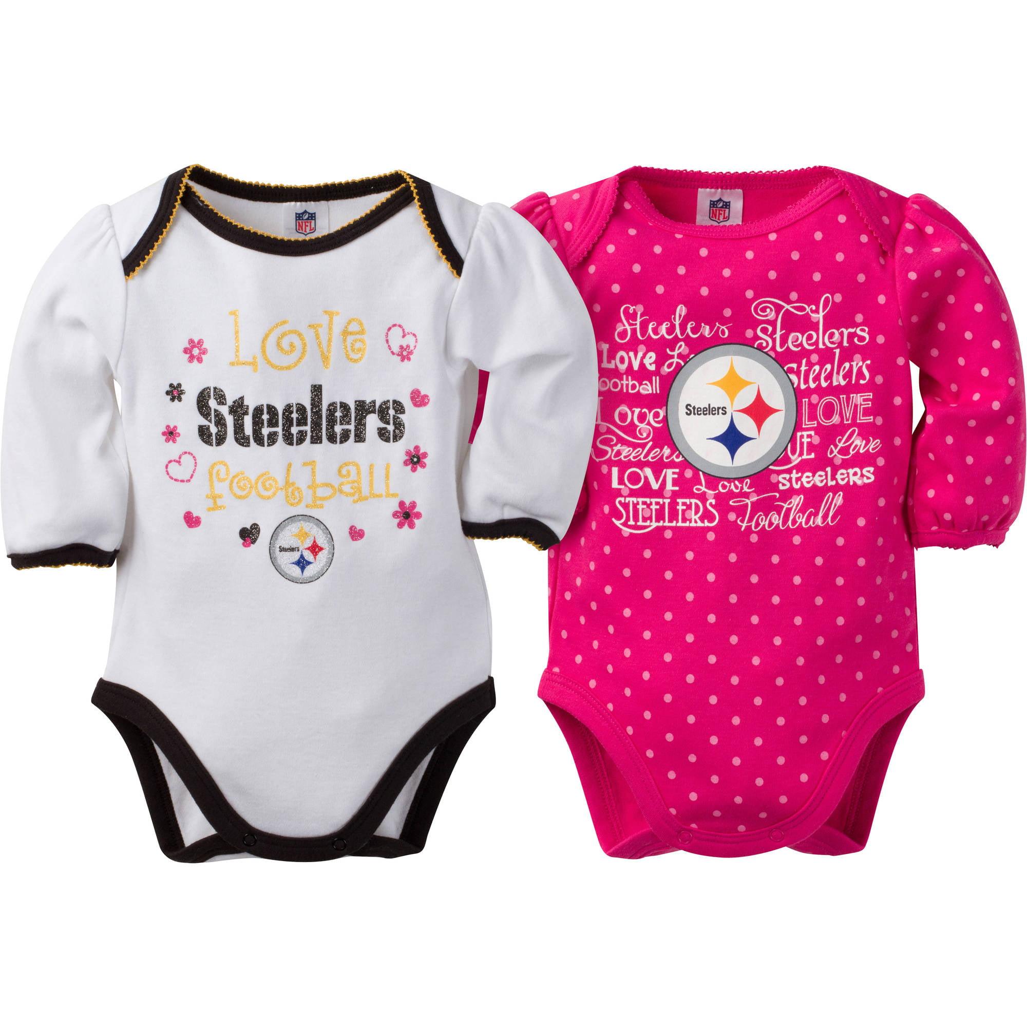 NFL Pittsburgh Steelers Baby Girls Long Sleeve Bodysuit Set 2 Pack