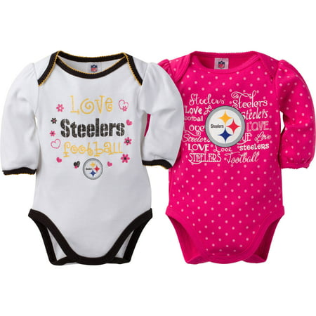 7746632fc NFL Pittsburgh Steelers Baby Girls Long Sleeve Bodysuit Set