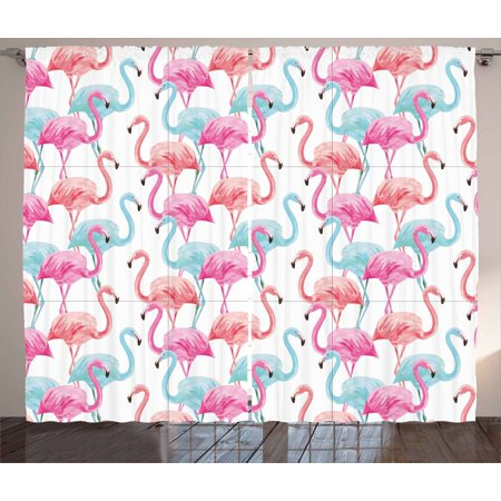 Watercolor Curtains 2 Panels Set  Flamingos In Many Colors Hand Drawn Bird Exotic Animals Illustration  Window Drapes For Living Room Bedroom  108W X 90L Inches  Baby Blue Salmon Pink  By Ambesonne