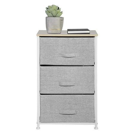 "HOMY CASA Dresser Storage 3 Drawer Closet Organizer for Clothes Bedroom Entryway Table Bedside End Table H28.5"" Grey Steel Frame Wood"