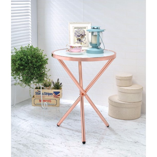 Alluring Side Table Frosted Glass Copper Walmart Com Walmart Com