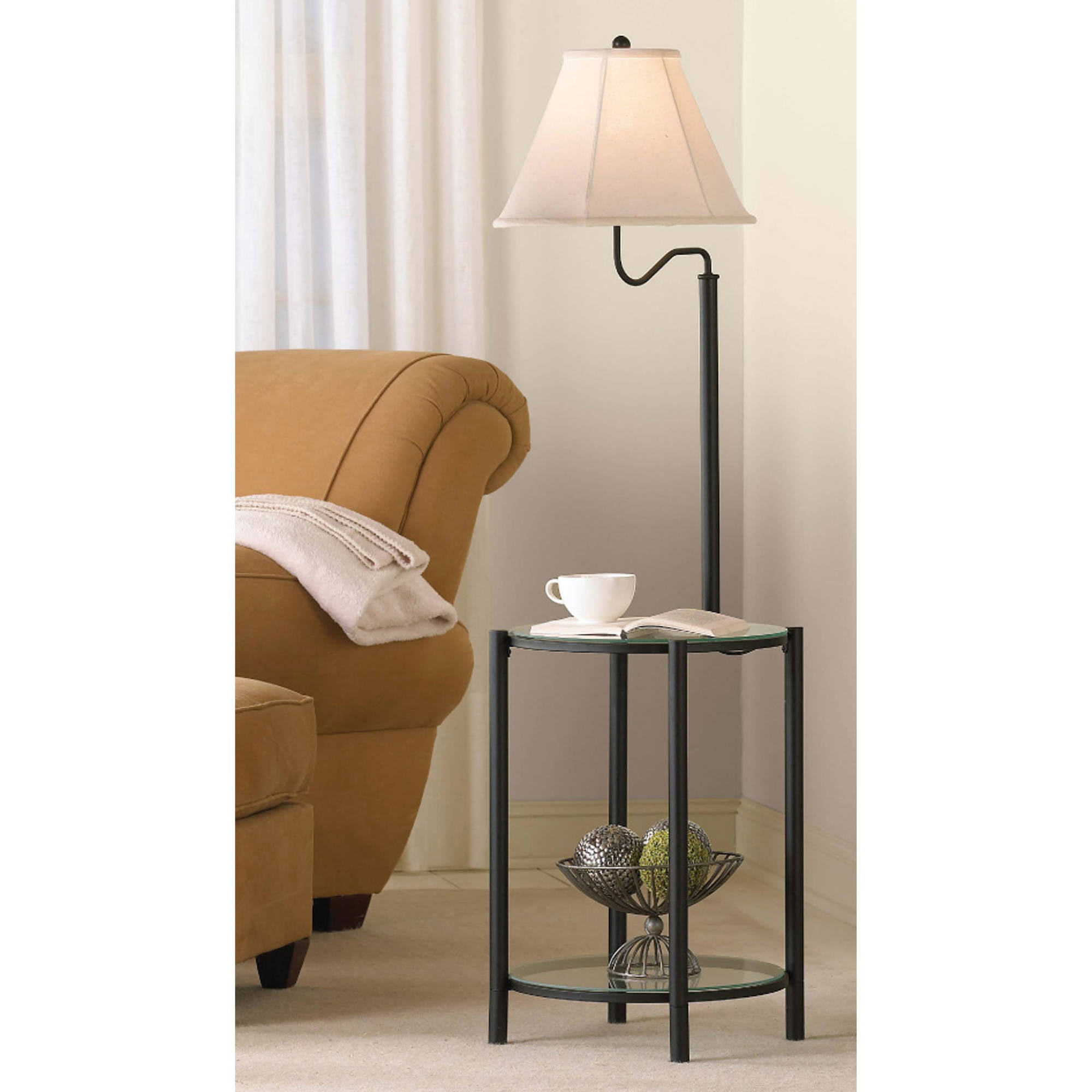 Mainstays Glass End Table Floor Lamp Matte Black CFL Bulb
