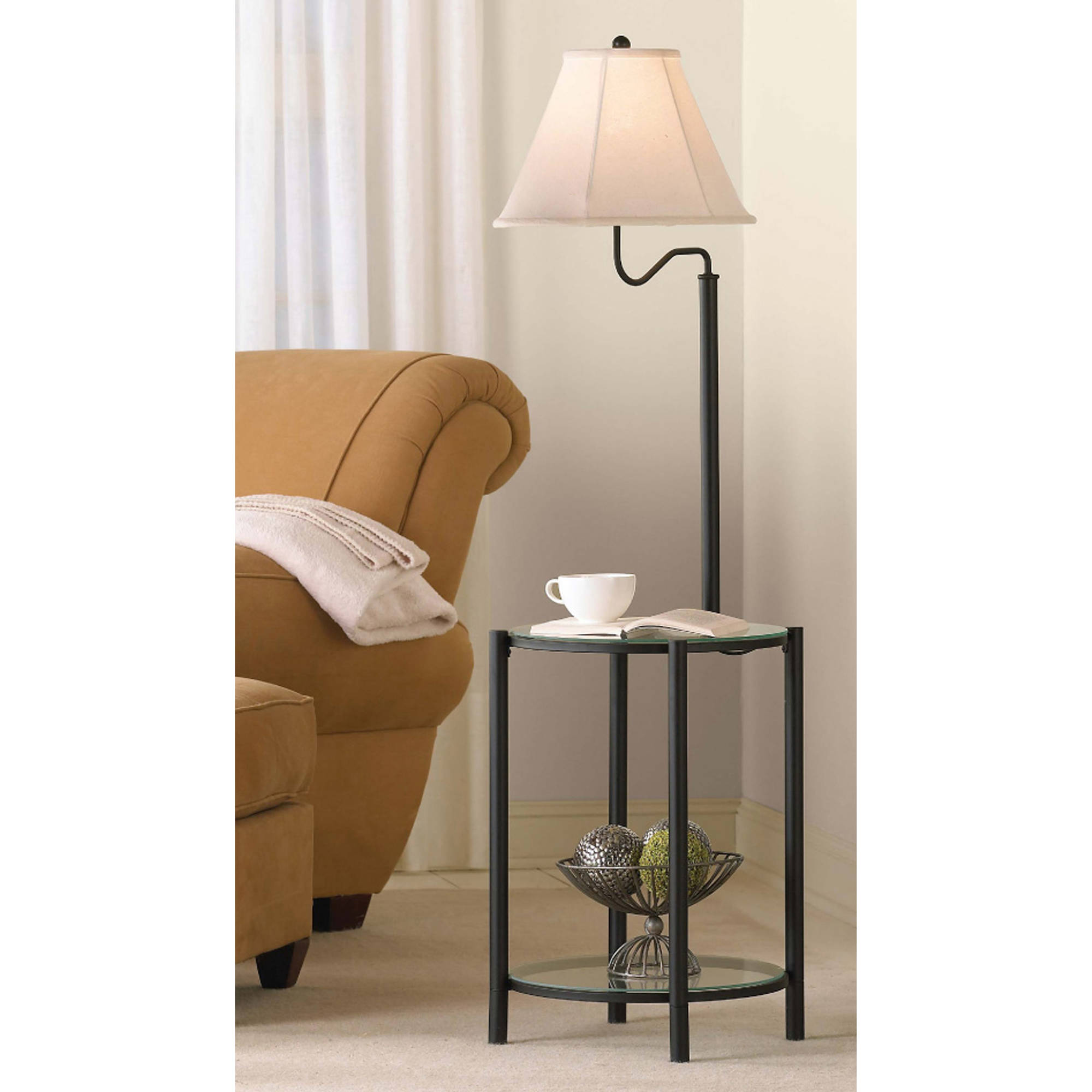 Elegant Mainstays Glass End Table Floor Lamp, Matte Black, CFL Bulb Included