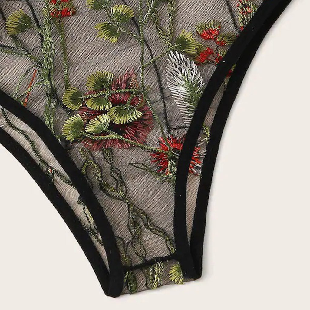 Womens Fashion V-Neck Floral Lace Embroidered Sheer Underwear Black Lingerie Set