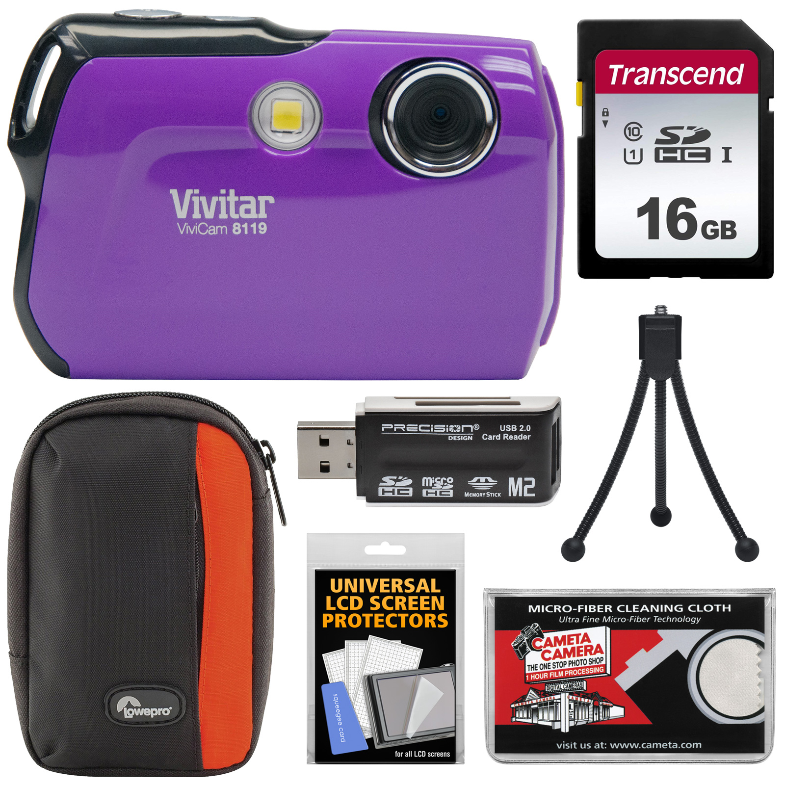 Vivitar ViviCam 8119 Digital Camera (Purple) with 16GB Card + Case + Reader + Tripod + Kit