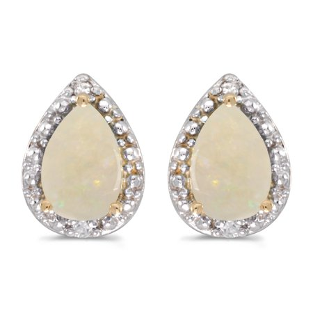 14k Yellow Gold .42 ct Pear Shaped Opal 6x4mm Gemstone Teardrop .02 ct Diamond Accented Stud Earrings for Women Diamond Shaped Table Jewels
