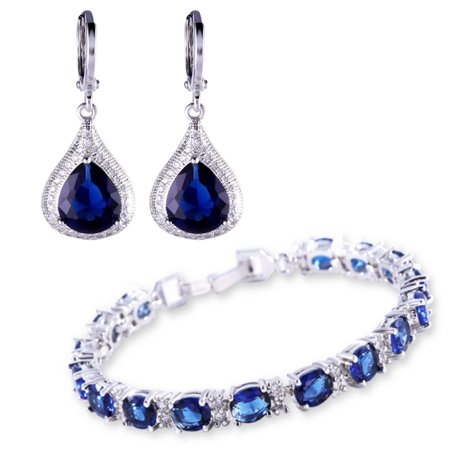 Beautiful Bracelet and Earring Jewelry Set with Created Blue (Beautiful Jewelry Set)