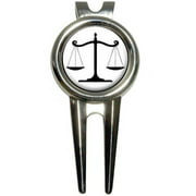 Balanced Scales of Justice Symbol Legal Lawyer White and Black Golf Divot Repair Tool and Ball Marker