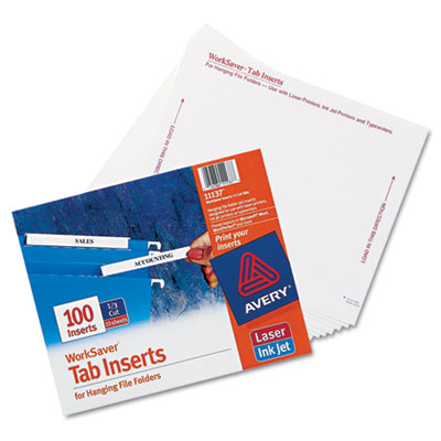 Laser/Inkjet Hanging File Folder Inserts, 1/3 Tab, 3 1/2, White, 100/Pack, Sold as 1 Package, 100 Each per Package