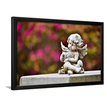 - USA, Georgia, Savannah. Little Angel at a Cemetery Framed Print Wall Art By Hollice Looney