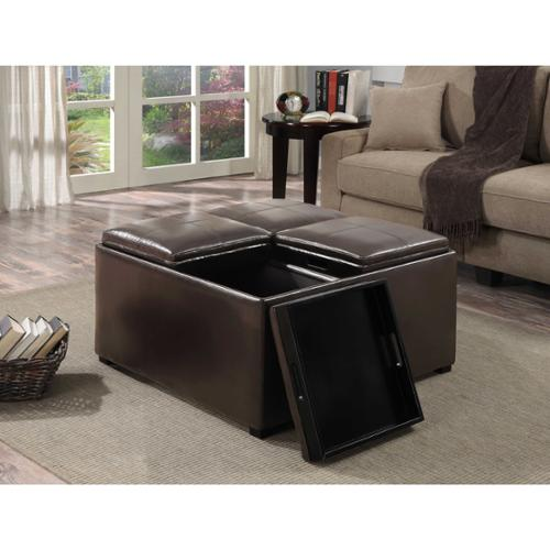 WYNDENHALL Franklin Square Coffee Table Storage Ottoman with 4 Serving Trays Dark Brown