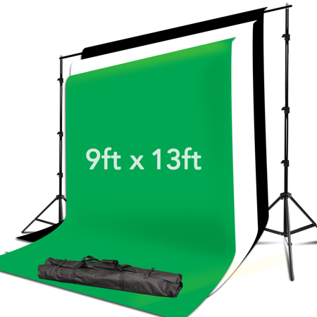 Loadstone Studio 10 x 8.5 FT. Background Muslin Backdrop Support System with 9 x 13 FT. Black, White, Green Backdrop Muslin, Photo / Video Studio Kit, WMLS4460](Black And White Halloween Background)